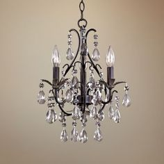 Castlewood Walnut Silver Finish 3 Light Mini Chandelier   Style # 83484