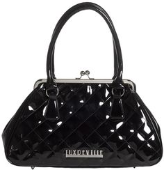 LUX DE VILLE BON VOYAGE KISSLOCK PURSE BLK This will become your new everyday purse! Diamond stitching and detachable anchor baubles with rhinestones, make this a vintage bag with a modern twist. Features Lux de Ville red logo lining, with inside pockets and matching dust bag. $84.00 #luxdeville #purse #pinup