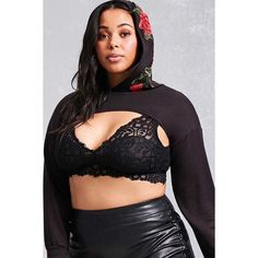 Forever21 Plus Size Hooded Crop Top ($24) ❤ liked on Polyvore featuring plus size women's fashion, plus size clothing, plus size tops, black, cropped tops, long sleeve tops, forever 21, hooded top and cut-out crop tops