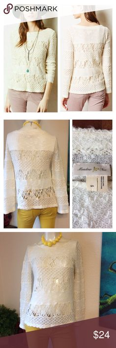 """anthropologie Lace Sweater Ivory Top Meadow Rue XS Great pre owned condition. No flaws to note!  Approx measurements laid flat-(double where necessary) Shoulder to shoulder: 15.5"""" Underarm to underarm: 18.5"""" Waist: 18"""" Hips: 21"""" Shoulder to hem: 23"""" Sleeve: 23.5"""" I ship paid items everyday at 3 pm.  Thanks!!! Anthropologie Tops Blouses"""