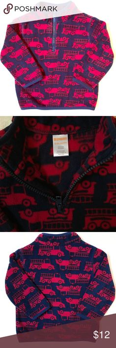 🚒 Gymboree Fleece Pullover 🚒 Does your little guy love fire trucks? Adorable print on fuzzy warm pull over fleece with neck zip. Like new, barely worn! Size 12-24 Months. Gymboree Shirts & Tops Sweaters