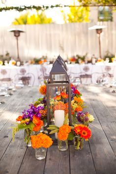 fall centerpiece, love the warm vibrant colors Lantern Centerpieces, Wedding Centerpieces, Wedding Table, Fall Wedding, Rustic Wedding, Our Wedding, Dream Wedding, Wedding Decorations, Wedding Ideas