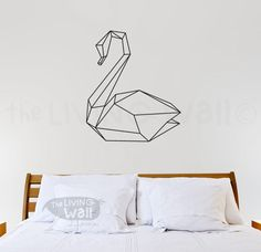 Geometric Swan Wall Decal, Geometric Swanes Wall Art, Swan Home Decor Wall…