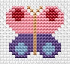 Easy Peasy Butterfly cross stitch kit from Fat Cat Cross Stitch Cat Cross Stitches, Easy Cross Stitch Patterns, Small Cross Stitch, Butterfly Cross Stitch, Cross Stitch For Kids, Cross Stitch Tree, Cross Stitch Bookmarks, Cross Stitch Baby, Cross Stitch Kits