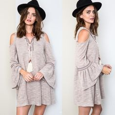 "X ""Sestina"" Cold Shoulder Bell Sleeved Dress Cold shoulder bell sleeved boho dress. Features front embroidery and tassels. Brand new. True to size. Length of small is 32 inches. NO TRADES. Bare Anthology Dresses Mini"