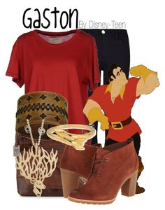 """Gaston"" by disney-teen ❤ liked on Polyvore featuring Frame Denim, Current/Elliott, Disney, Frye, Timberland, Nemesis, Agrigento Designs and ChloBo"