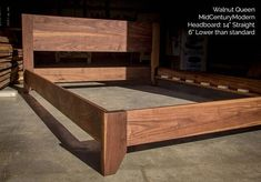 This low walnut bed is for a space beneath a window, so we only had in height to work with. Those little legs are just and we were still able to give our customers of headboard. Columbus, OH bound today! Bed Hardware, Wood Bed Design, Wood Sample, Platform Bed Frame, Wood Beds, Mid-century Modern, Hardwood, Decoration, Furniture