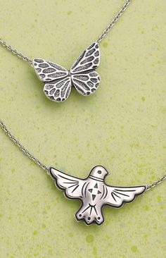 Spring Collection 2016 - Sculpted Butterfly Necklace, Rain Dove Necklace #JamesAvery