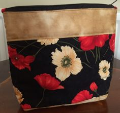 Cosmetic Bag Black With Flowers  Zip by QuiltyPatchesOnline