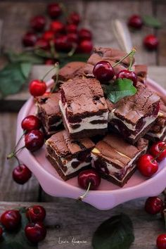 Piece of cherry cake on platter Sweets Recipes, Brownie Recipes, Just Desserts, Cake Recipes, Cooking Recipes, Romanian Desserts, Tummy Yummy, Eat Dessert First, Desert Recipes