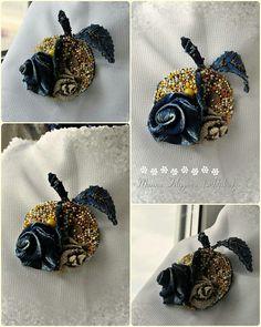 Текстильная брошь Крейзи-яблоко, #brooch, #beads, #textile