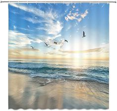 Lonely Tree and Ocean Lake Beach Abstract Art Shower Curtain Extra Long 84Inch