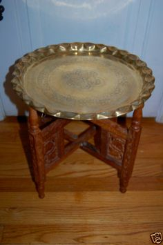 "Vintage Arabic Morroco Style Table 25"" Brass Tray with Folding Carved Wood Stand 