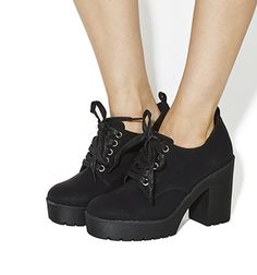 Office Quibble Lace Up Chunky Heels Black - Mid Heels