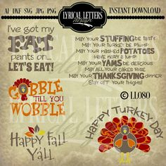Free Thanksgiving SVG Set | Silhouette Files | Pinterest ...