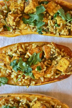 tofu curry stuffed delicata squash more food ideas squashes healthy ...