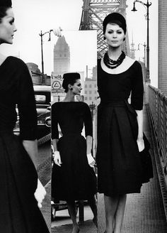 Anne St. Marie and Isabella in dresses by H. Charles, photo by William Klein, New York City, 1959