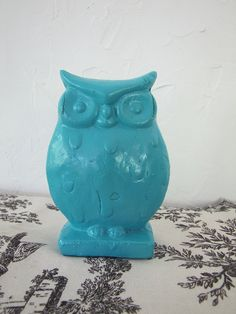 Turquoise Ceramic Owl Quirky Funky Home Decor by IndigoPearlStudio, $6.50