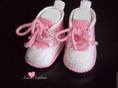 Купить пинетки кеды для Натали. - розовый, в полоску, пинетки для новорожденных, пинетки, пинетки для девочки