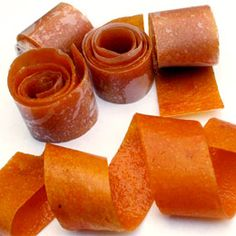 Homemade fruit roll-ups, made with dried fruit.  This would be good for school lunches.