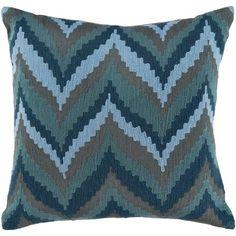Ikat Chevron Blue 22-Inch Pillow Cover