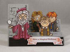 Hogwarts Step Card_lb by Clownmom - Cards and Paper Crafts at… Carte Harry Potter, Harry Potter Cards, Harry Potter Images, Harry Potter Birthday Cards, Stamp World, Side Step Card, Homemade Birthday Cards, Step Cards, Whimsy Stamps