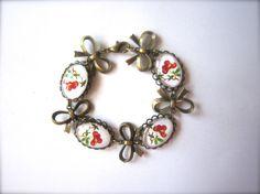 Lovely vintage inspired cherry bracelet