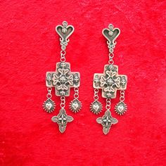 Crosses with Sacred Hearts Long Dangle by Santa Fe Silverworks, $347.00