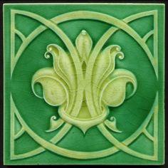 Nouveau Majolica Tile Near Perfect Richards c.1908. An excellent and quite different art nouveau design, an arrangement of arcs forming a frame for the design resembling an effervescent fleur de lis.
