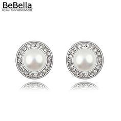 4.35 10% de DESCUENTO Aliexpress.com  Comprar BeBella redondo creado  pendientes de perlas con cristales de perlas de Swarovski 2018 joyería de  moda regalo ... e36c18ddfed