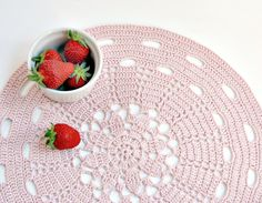 Pink doily placemat  - light pink - cottage syle, beach wedding