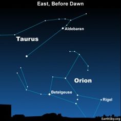 Orion the Hunter - the most noticeable of constellations - returns to the east before dawn in each year at this time.