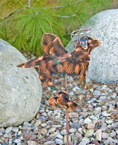 Labrador Retriever Garden Stake / Angel Dog / Metal Yard Art / Pet Grave Marker / Copper Garden Art / Pet Memorial / Metal Dog Sculpture