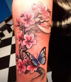 Beautiful pink-ink cherry blossom and blue-ink butterfly tattoo on arm - geniale Tattoos - Pretty Tattoos, Fake Tattoos, Beautiful Tattoos, Body Art Tattoos, Sleeve Tattoos, Lotusblume Tattoo, Cover Tattoo, Flower Tattoo Designs, Tattoo Designs For Women