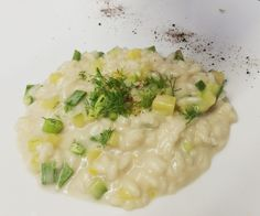 Vegan, Gluten Free -  Risotto With zucchini, fennel, Lime confit Powder of Licorice, Creamed with Coconut Milk