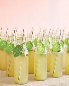 Specialty Bottles + Straws  OMG - so cute  Can use with this Spiked Mint Lemonade recipe (with citrus-flavoured vodka)