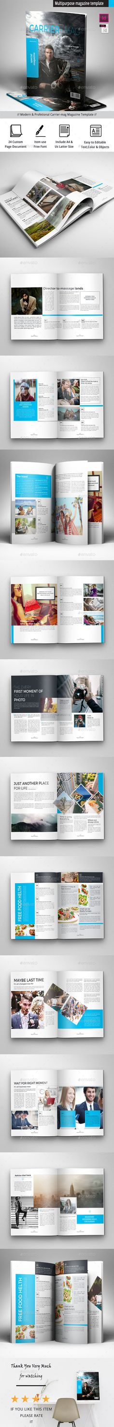 Buy Magazine Template by obayes on GraphicRiver. Brochure Description: Professional and clean InDesign magazine template. Includes 24 pages for articles, interviews,. Blog Templates Free, Indesign Magazine Templates, Print Templates, Cool Magazine, Print Magazine, Magazine Design, Sport Fashion, Trendy Fashion, Fall Fashion