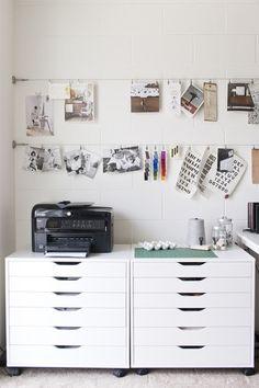 Creative art studio organization ideas for workspace desks 29 small workspace, workspace desk, office Small Workspace, Workspace Desk, Home Design Decor, House Design, Ikea Design, Design Design, Studio Design, Design Ideas, Display Design
