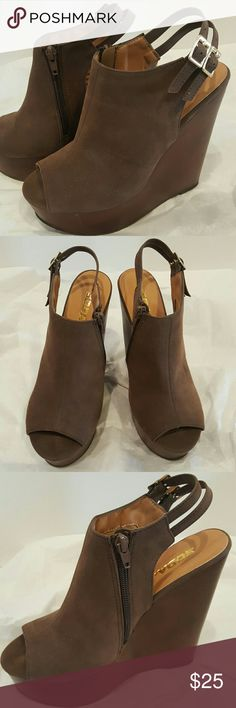 """Soda Brown Wedges These are suede on the top with double straps around the ankle. Very comfortable. 6"""" wedge with 1.5"""" platform in the front (making it a 4.5"""" wear). New with box. Soda Shoes Wedges"""