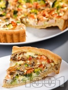 Vegetable quiche with mushrooms and broccoli