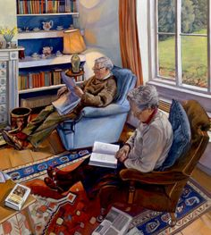 Reading after lunch. Sarah Bryant, British painter.  I get such a good feeling looking at this picture.