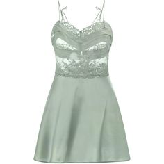 La Perla Green babydoll in silk satin and Leavers lace ($440) ❤ liked on Polyvore featuring la perla