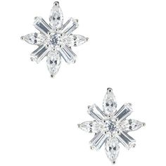 CZ By Kenneth Jay Lane CZ Starburst Earrings ($33) ❤ liked on Polyvore featuring jewelry, earrings, cz earrings, zirconia earrings, cubic zirconia jewelry, cz jewelry and post earrings