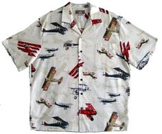 FREE SHIPPING - EVERY ORDER, EVERY DAY!  Kalaheo - WW1 Hawaiian Aloha Shirt -Cream. Coconut shell buttons and matching print engineered chest pocket. MADE IN HAWAII 55% Cotton 45% Rayon. RJC Brand - Kalaheo Label.