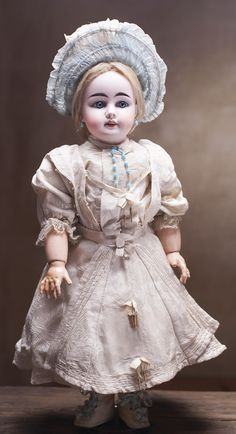 Early German Bisque Child Doll,44-34,by Gebruder Kuhnlenz Antique dolls at Respectfulbear.com