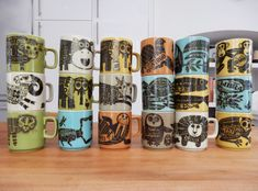 My (complete I believe!) collection of zodiac and animal newsprint mugs by John Clappison for Hornsea