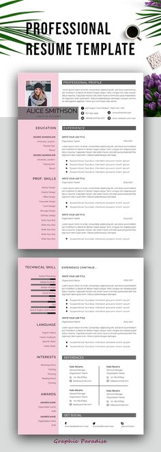 Resume template, Professional resume template instant download, Resume with photo, Resume design, resume template word, Curriculum vite, CV  #resume #resumetemplate #cv #cvtemplate