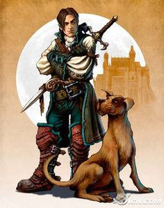 View an image titled 'Hero & His Dog Art' in our Fable 2 art gallery featuring official character designs, concept art, and promo pictures. Character Concept, Character Art, Concept Art, Character Design, Character Ideas, Dnd Characters, Fantasy Characters, Fable Ii, Ranger