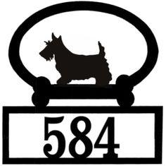 Scottish Terrier Custom House Number Sign