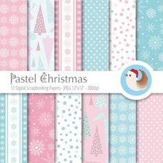 Pastel Christmas Digital Paper  Christmas Digital by CinnamonDove